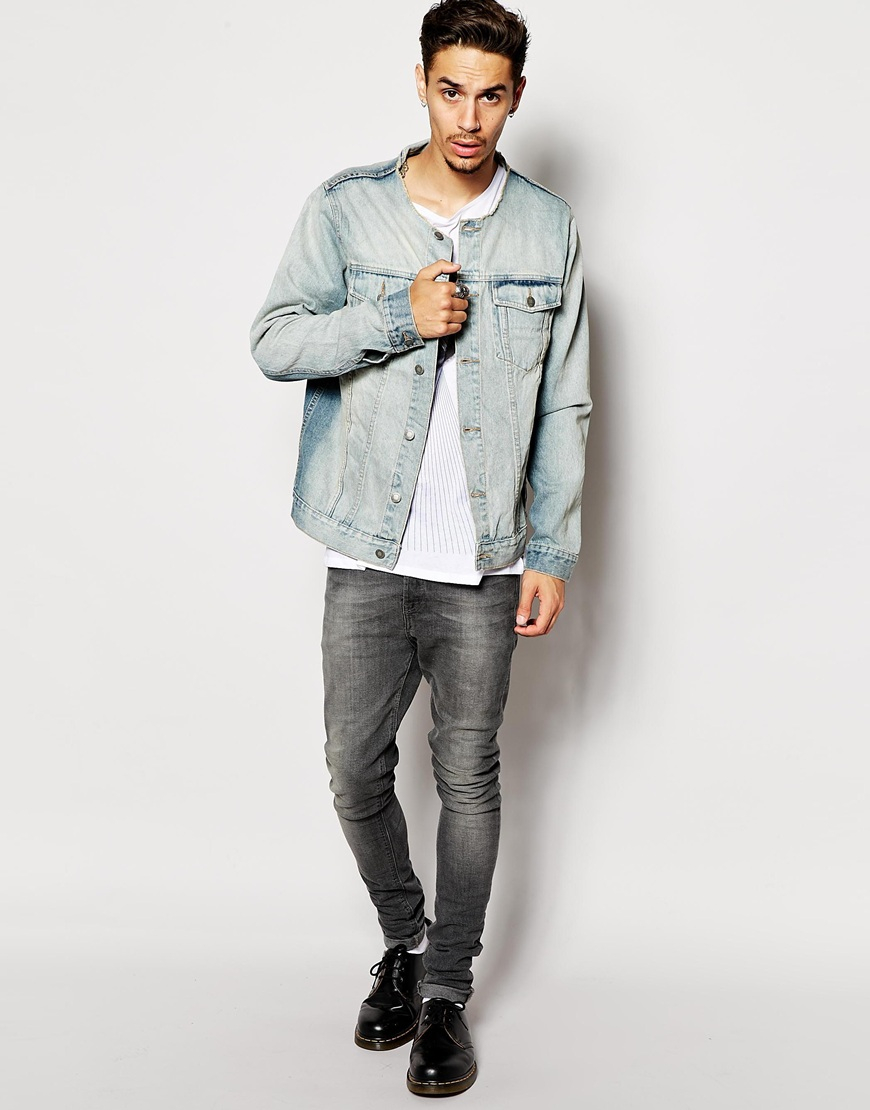 Cheap monday Collarless Denim Jacket in Blue for Men | Lyst