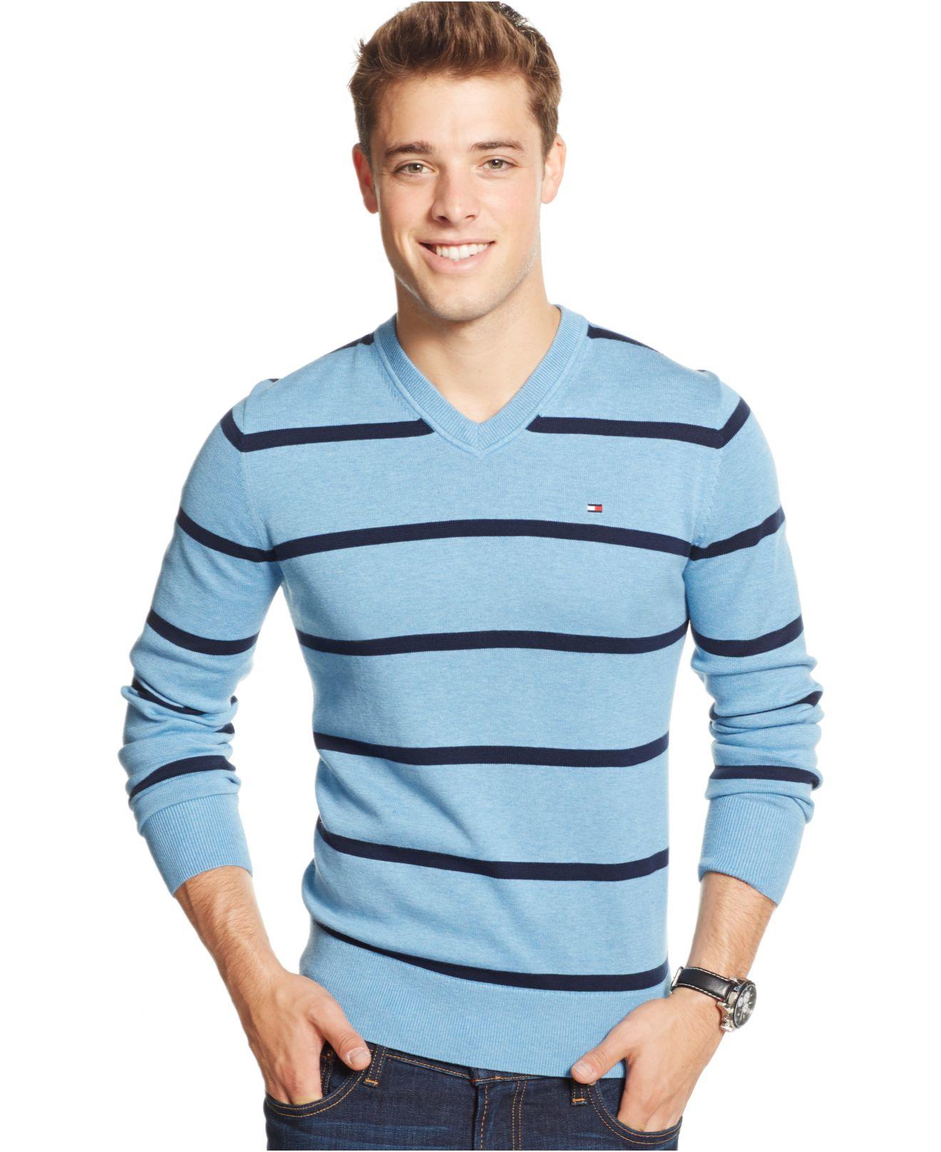 tommy hilfiger gray signature stripe v neck sweater for. Black Bedroom Furniture Sets. Home Design Ideas