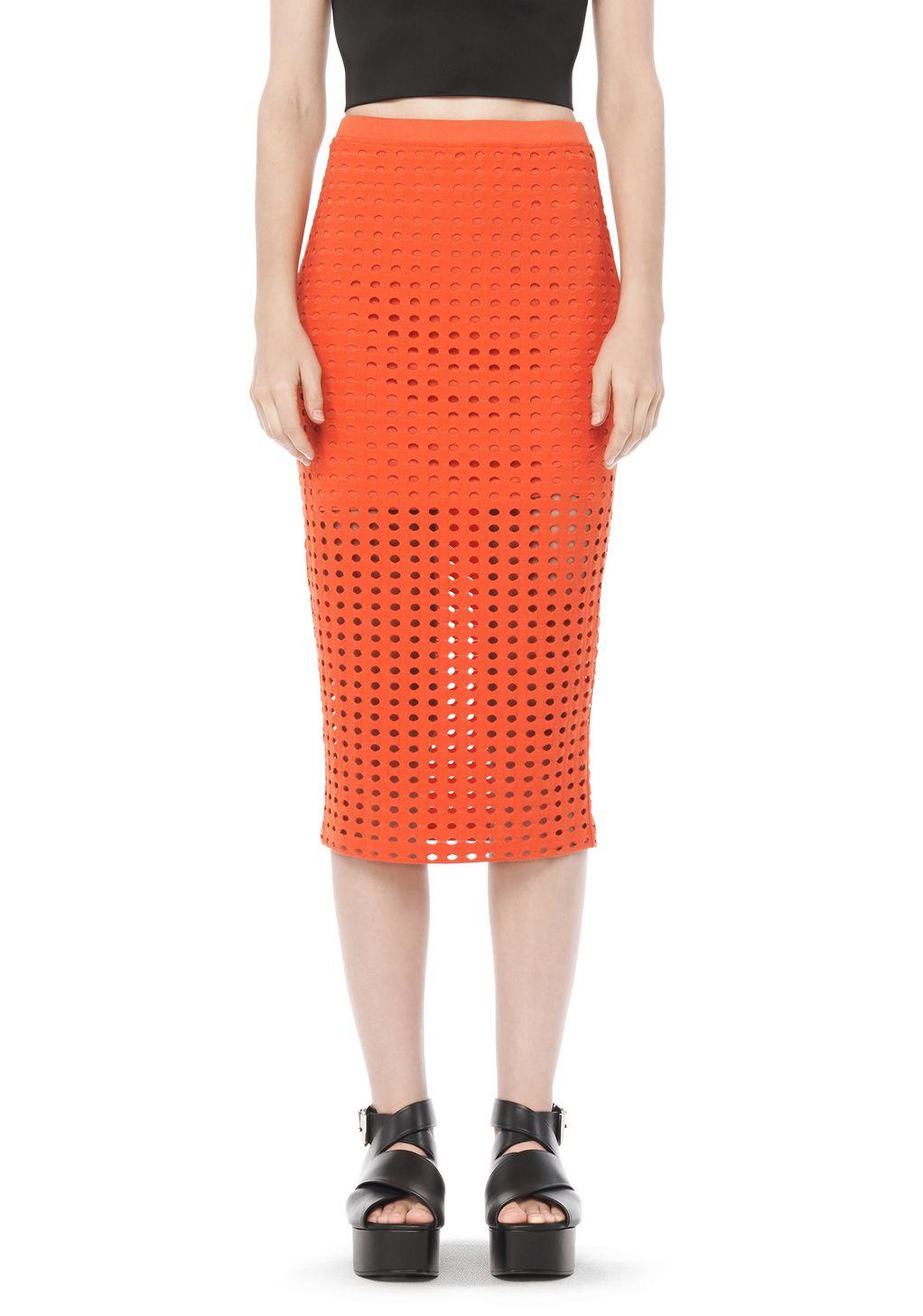 wang circular midi skirt in orange lyst
