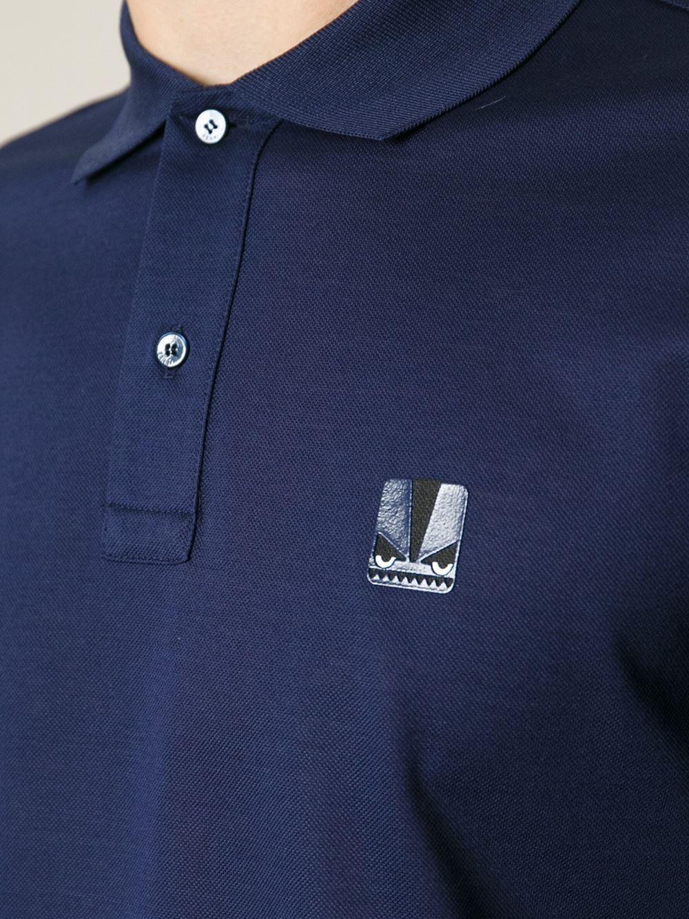 30f948923 Fendi Monster Polo Shirt in Blue for Men - Lyst