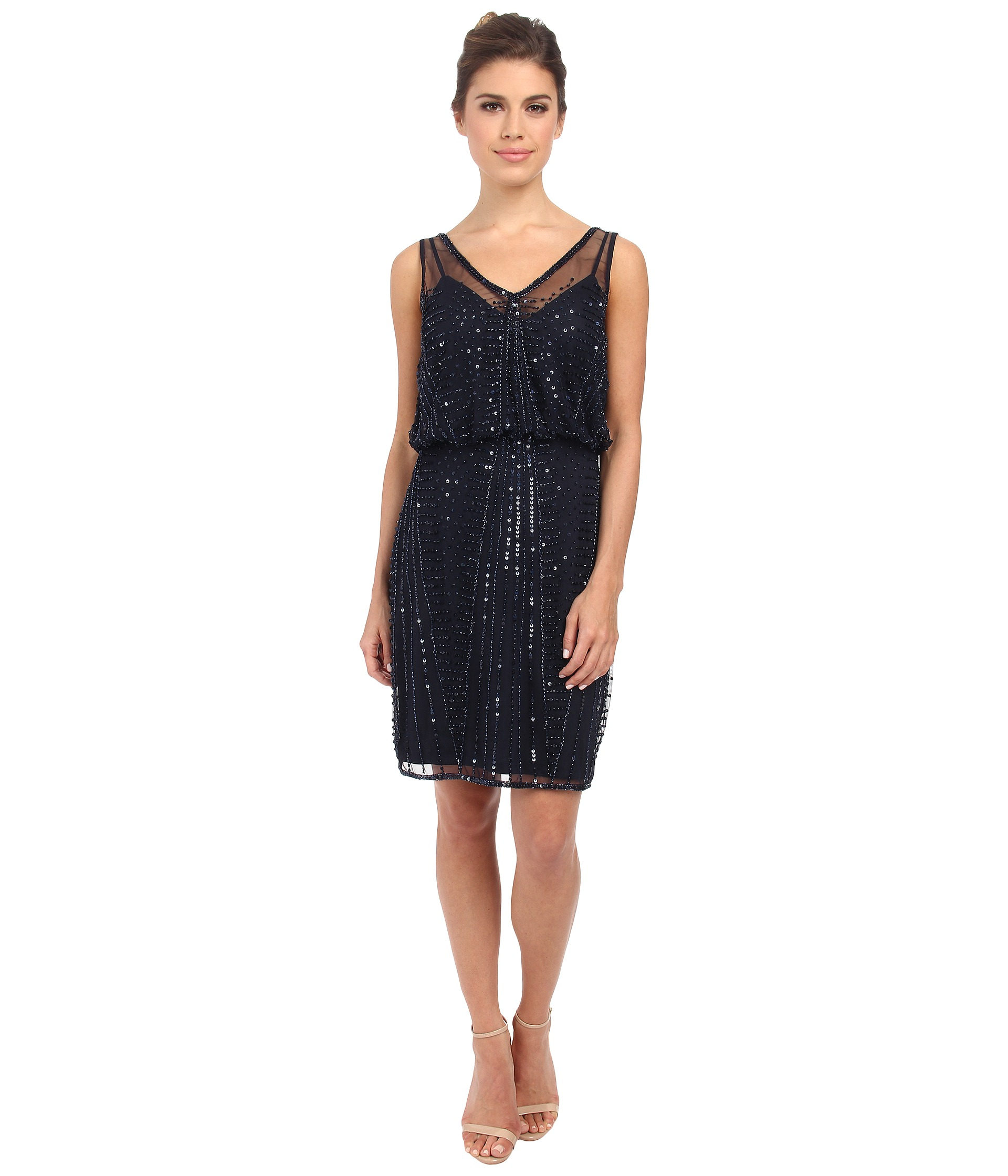 6fc17bdb674 Adrianna Papell Short Beaded Cocktail Dress in Blue - Lyst