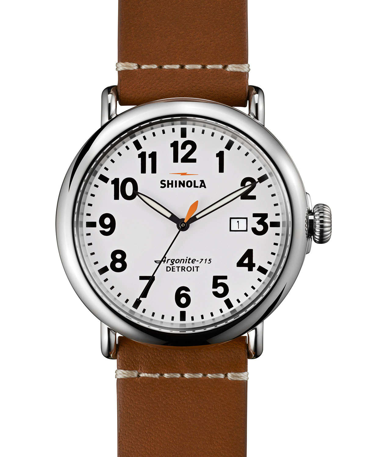Shinola 47mm runwell leather watch in brown for men lyst for Shinola watches