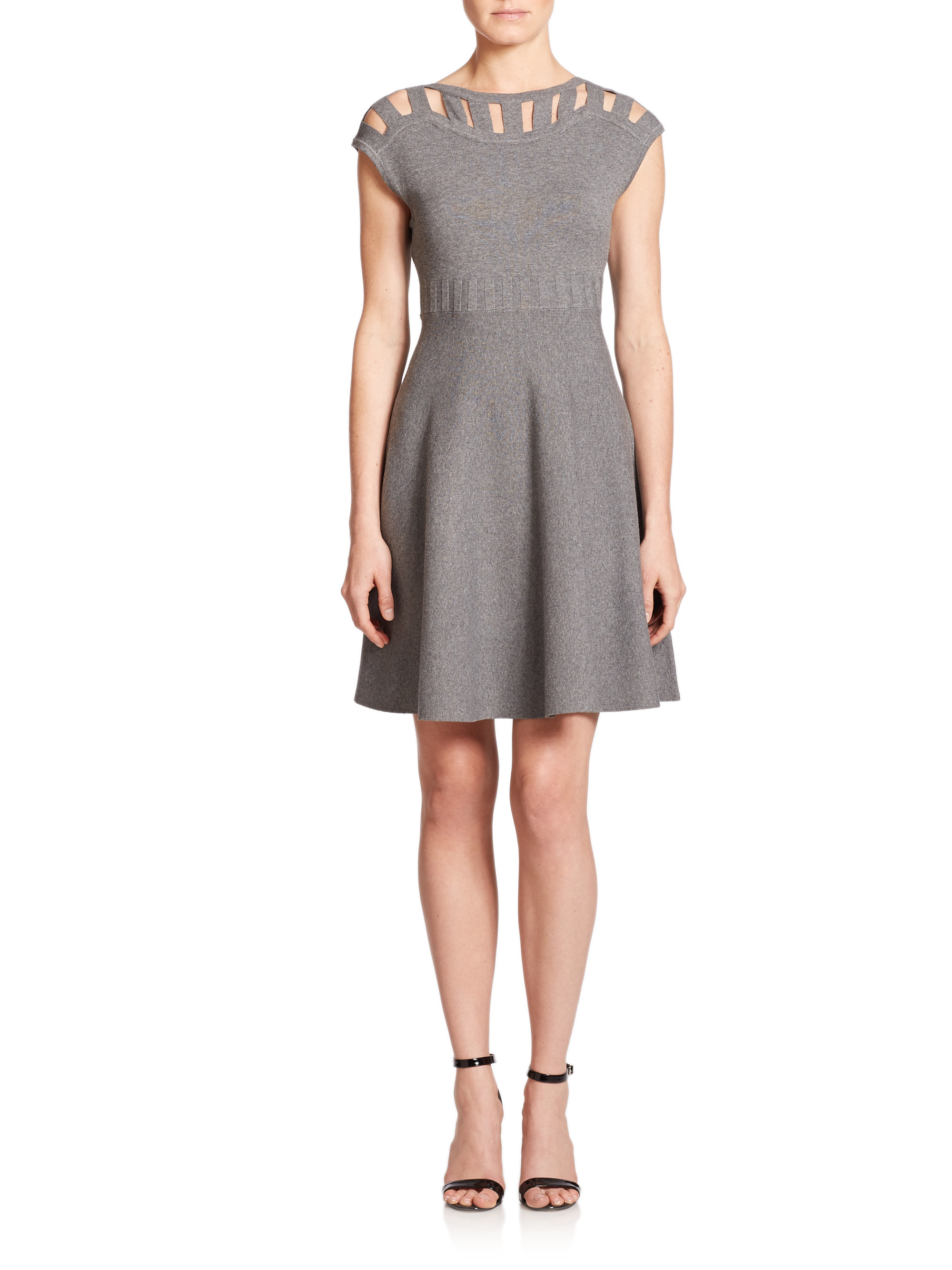 Milly Synthetic Cutout Fit Amp Flare Dress In Heather Grey
