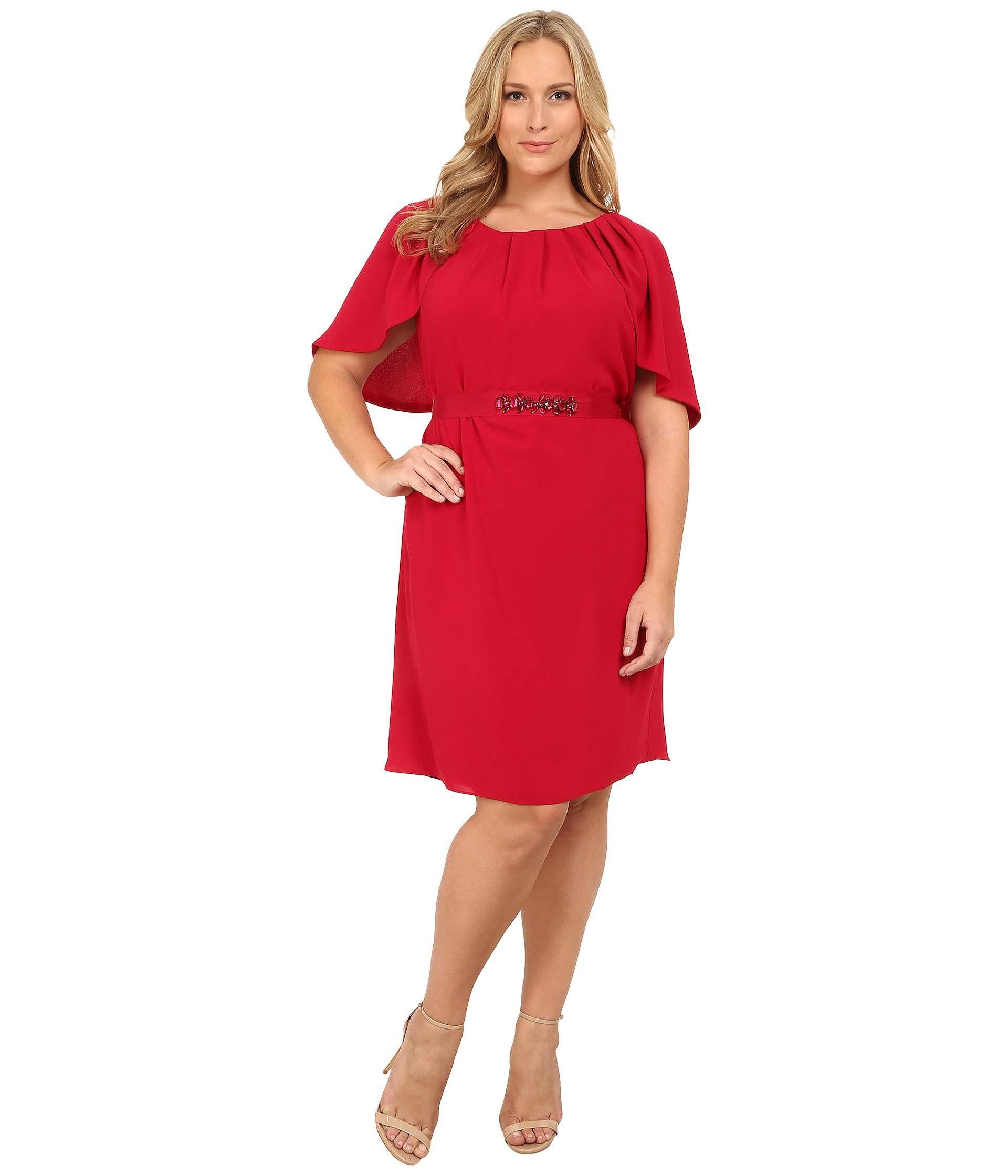 Plus Size Draped Sleeve Blouson Sheath Dress