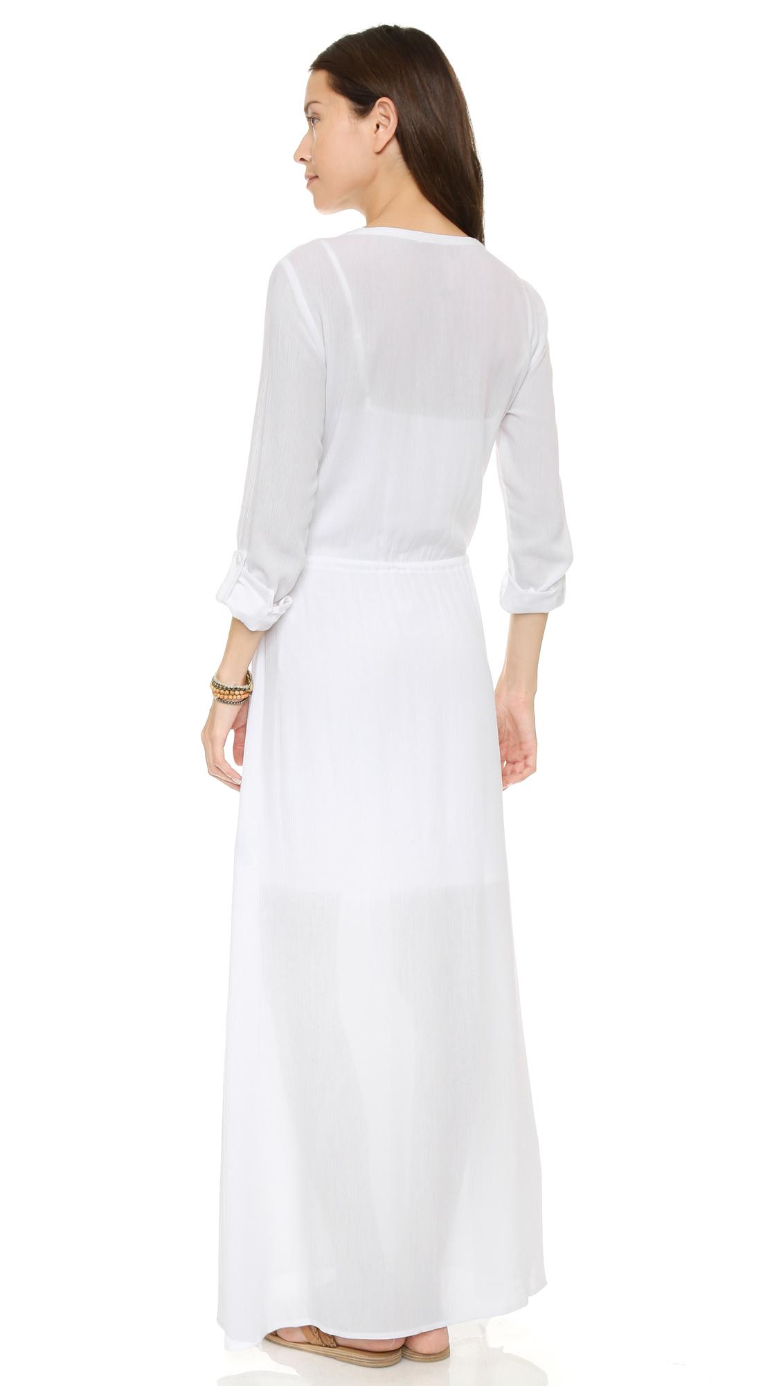 Gauze Maxi Shirt Dress - White