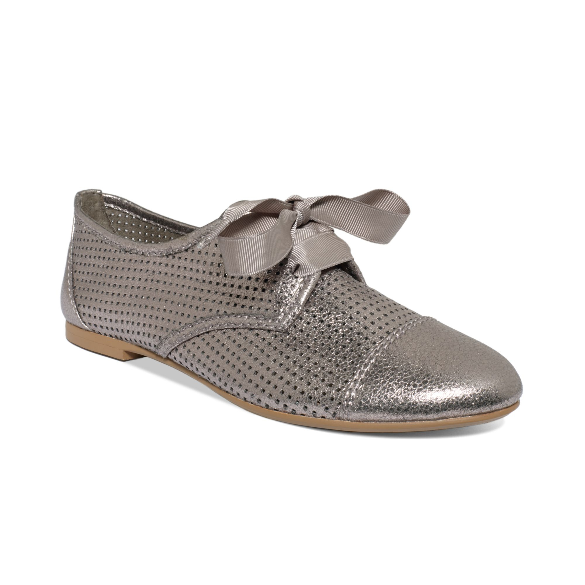 report josefina perforated oxford flats in metallic lyst
