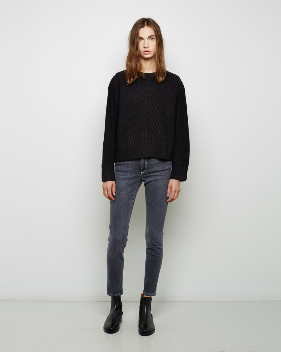 Acne studios Java Ribbed Sweater in Black | Lyst