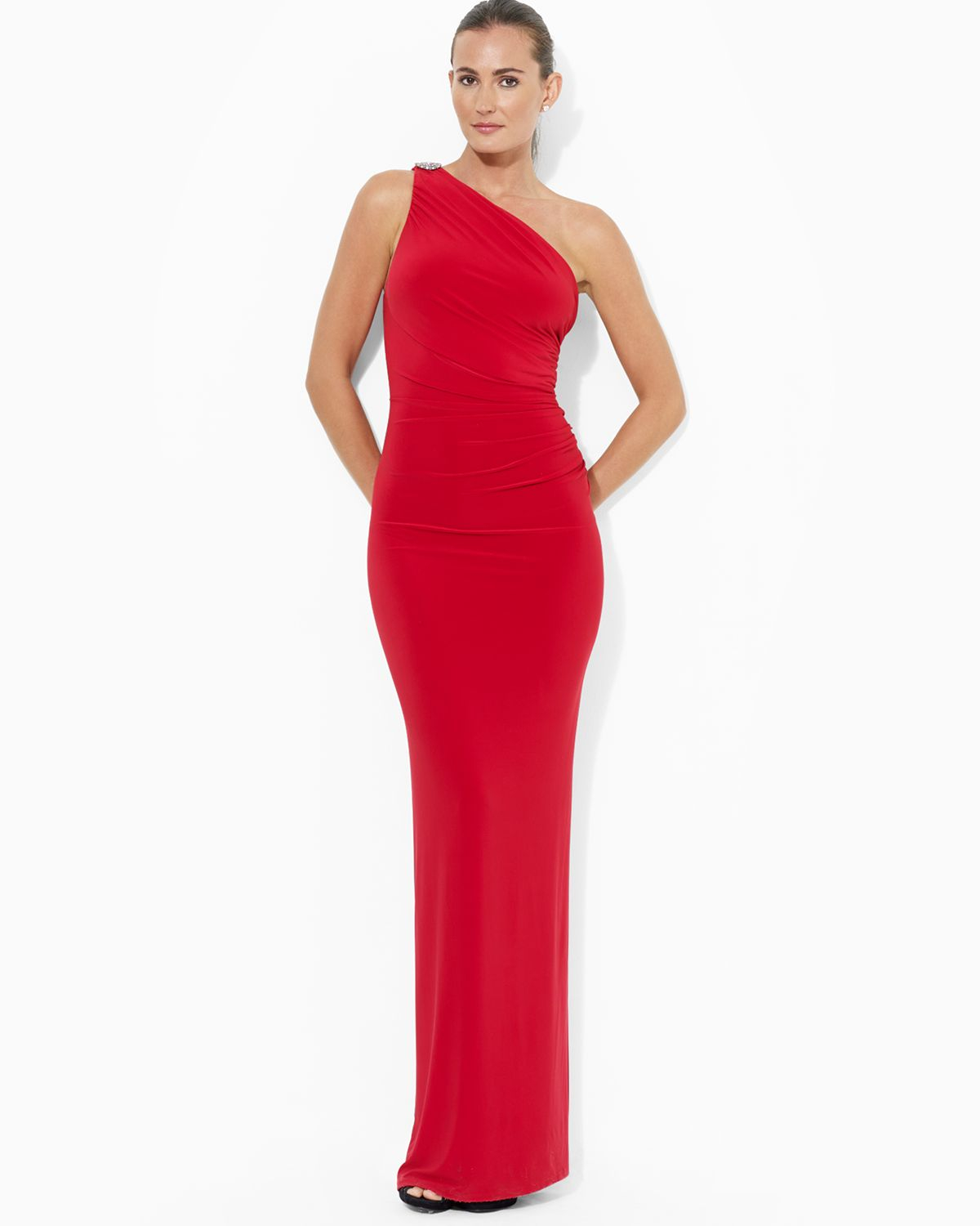 980eb738cb Ralph Lauren Red Lauren Gown One Shoulder Brooch