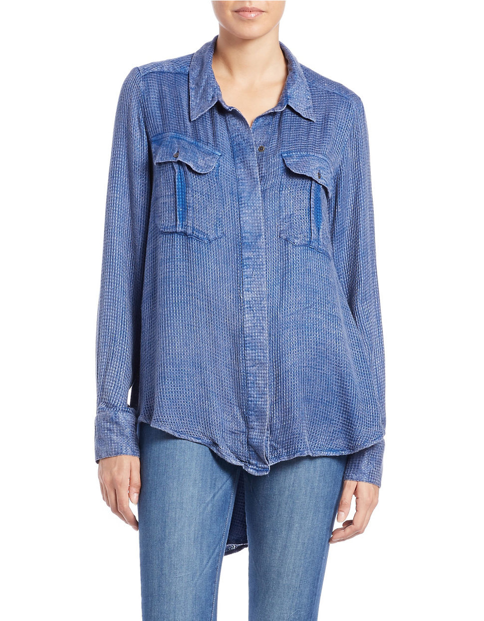 Free people One Of The Guys Button-down Shirt in Blue | Lyst