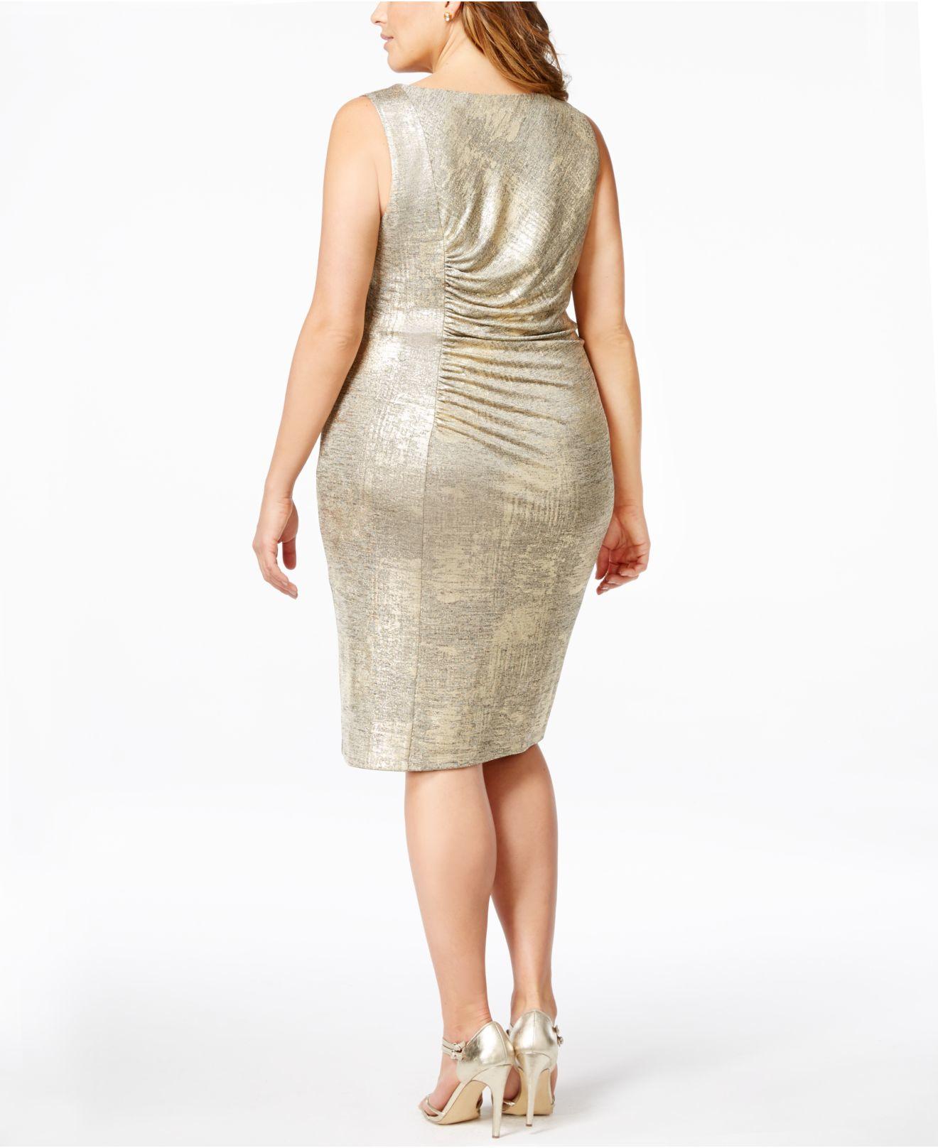 Calvin klein Plus Size Ruched Metallic Sheath Dress in Metallic | Lyst