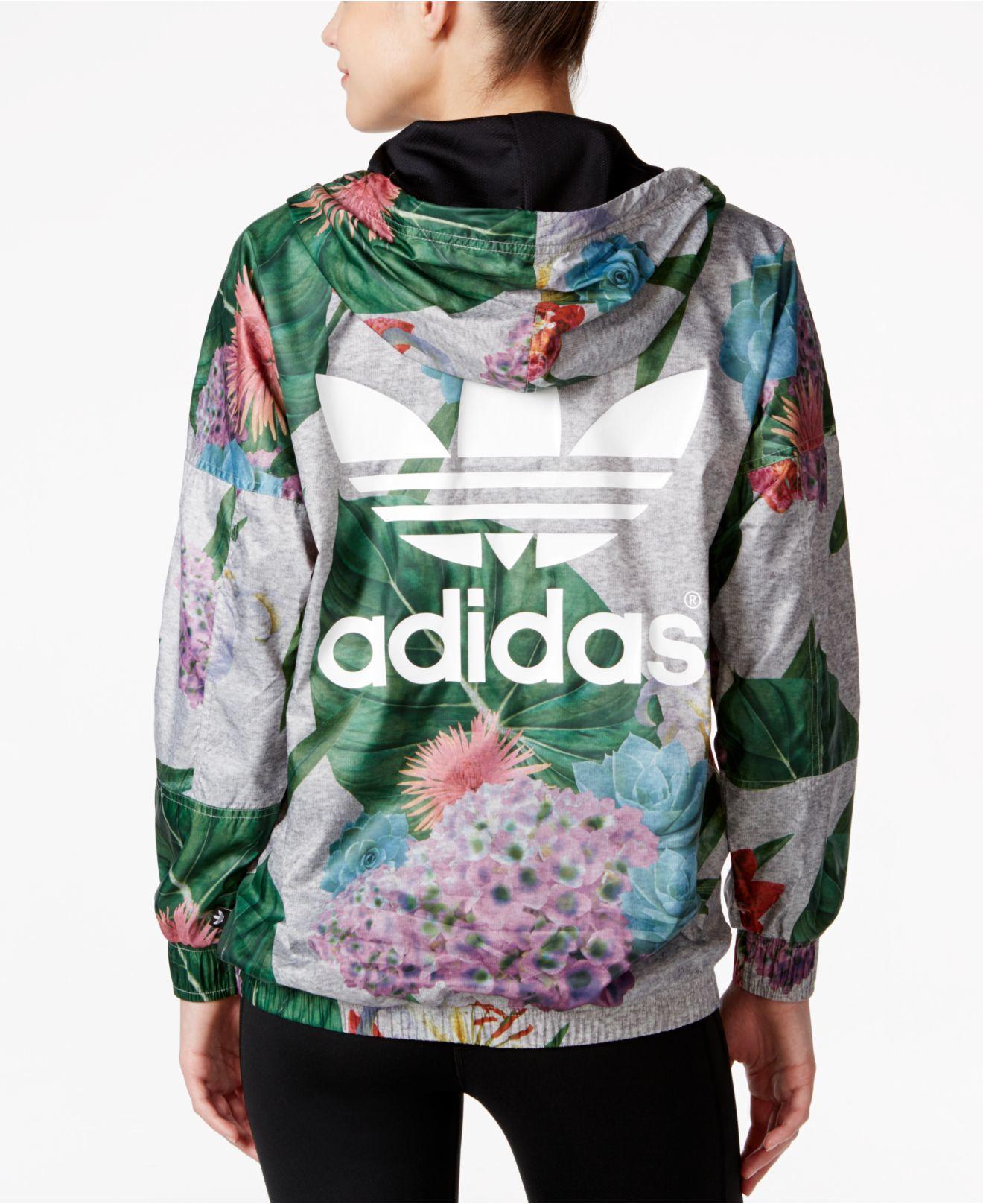 f11bbd3e5c1e Adidas Originals Floral-print Half-zip Windbreaker