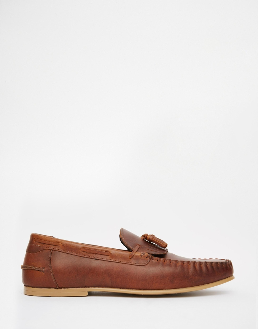 658929b7044 ASOS Tassel Loafers In Tan Leather With Fringe in Brown for Men - Lyst