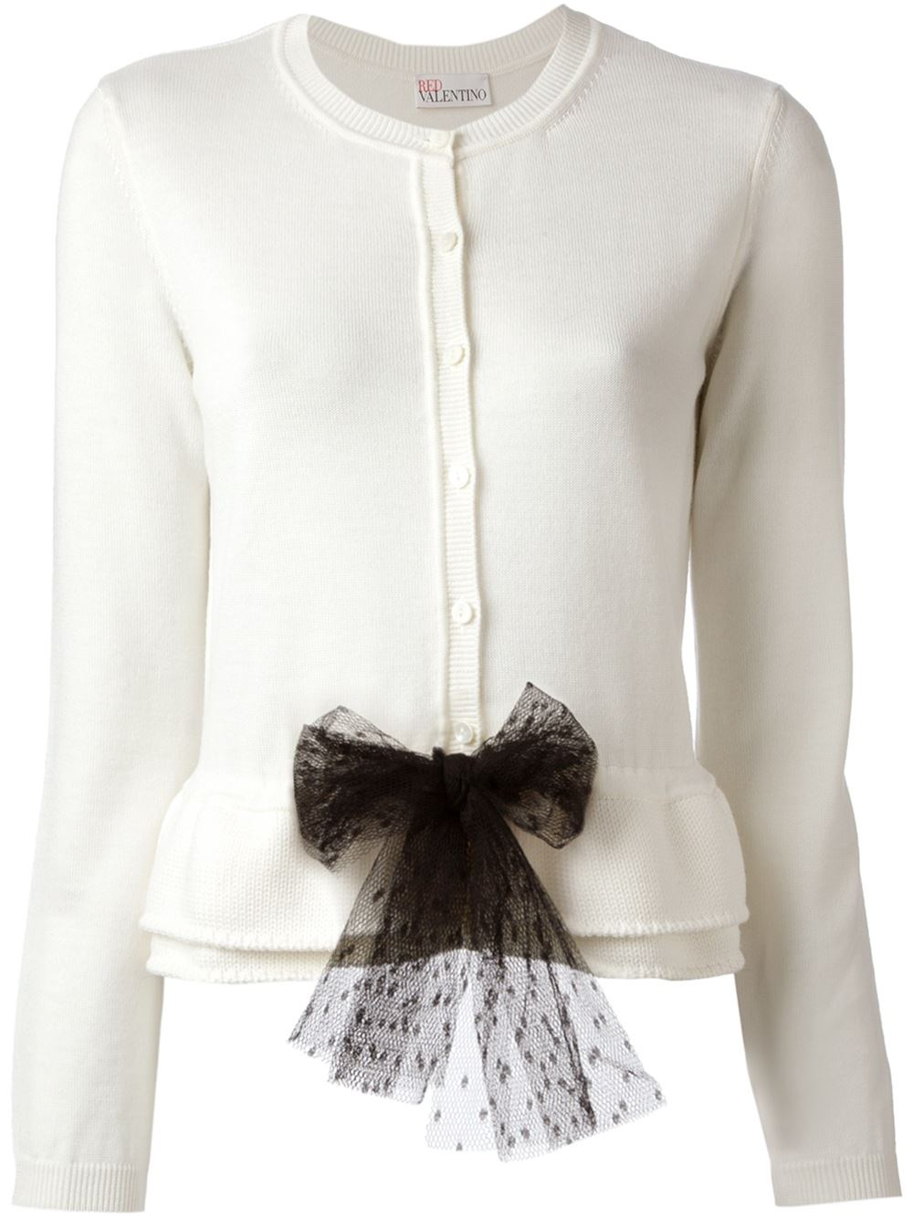 Red valentino Bow Cardigan in White | Lyst