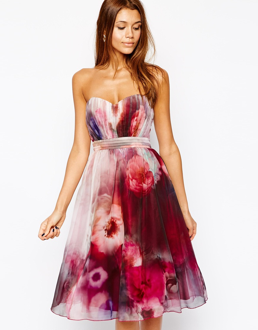 little mistress bandeau midi prom dress in blurred floral print in red lyst. Black Bedroom Furniture Sets. Home Design Ideas