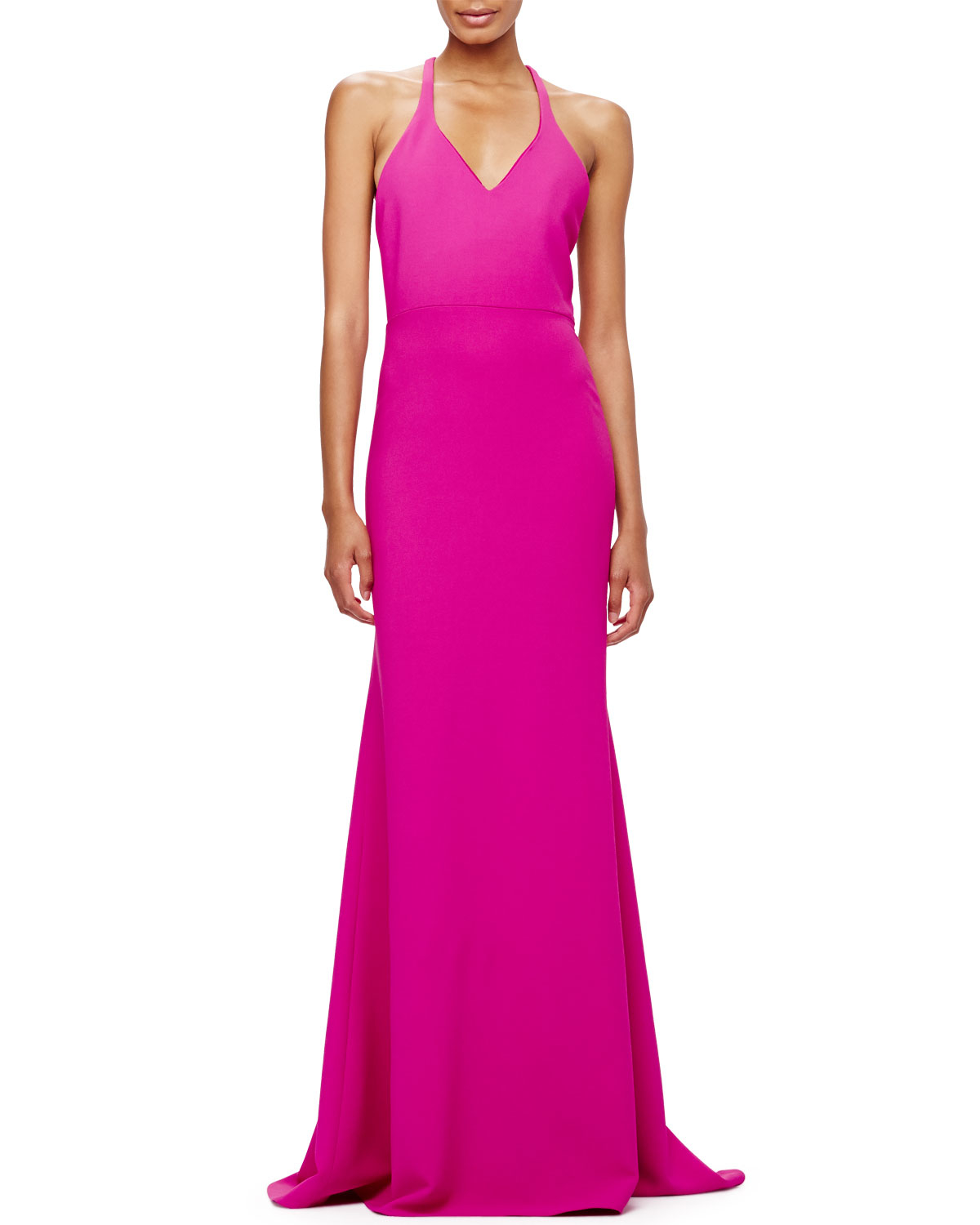 Lyst - Calvin Klein V-neck Crepe T-back Gown in Purple