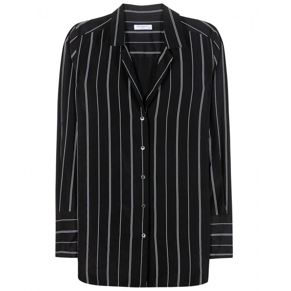 Equipment may striped silk shirt in black lyst for Equipment black silk shirt