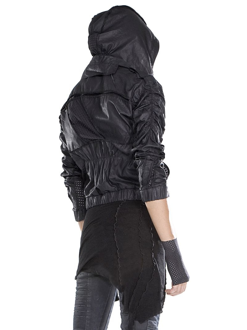 Demobaza Asymmetric Waxed Cotton Hooded Jacket In Black Lyst