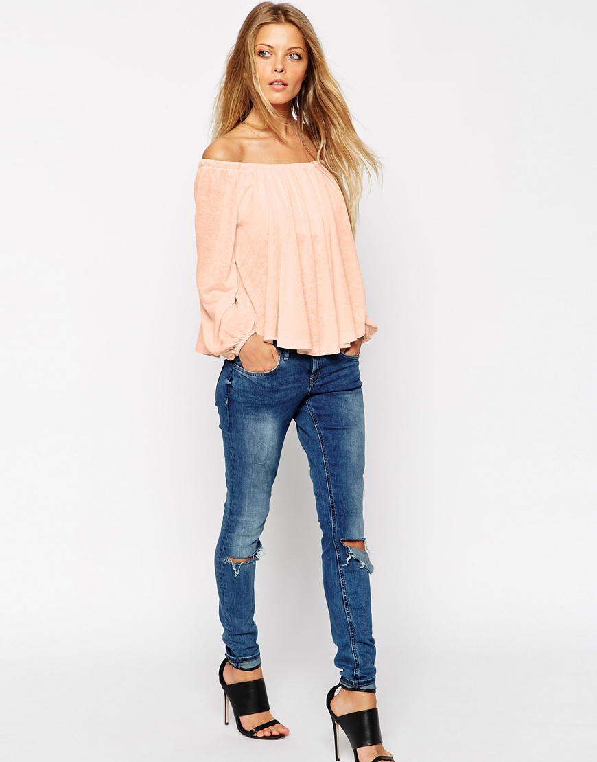 Asos Festival Smock Top With Off Shoulder In Texture With Bell ...