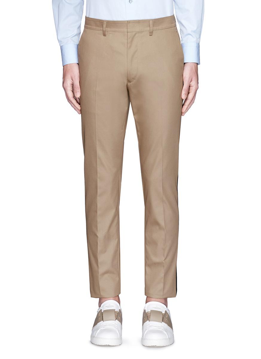 Valentino Tuxedo Stripe Cotton Cavalry Twill Pants in Natural for ...