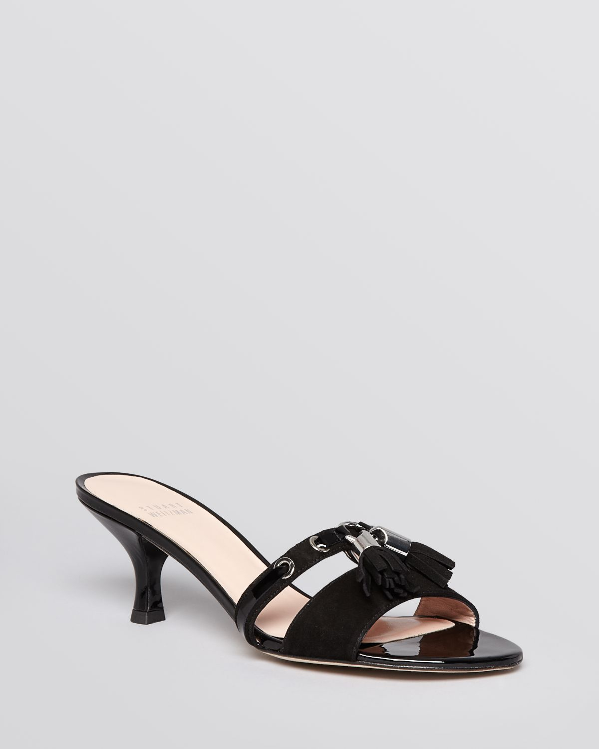 Stuart weitzman Slide Sandals Tassa Kitten Heel in Black | Lyst