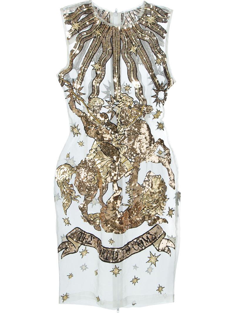 Ktz Sheer Sequin Embellished Silk Dress in Metallic | Lyst
