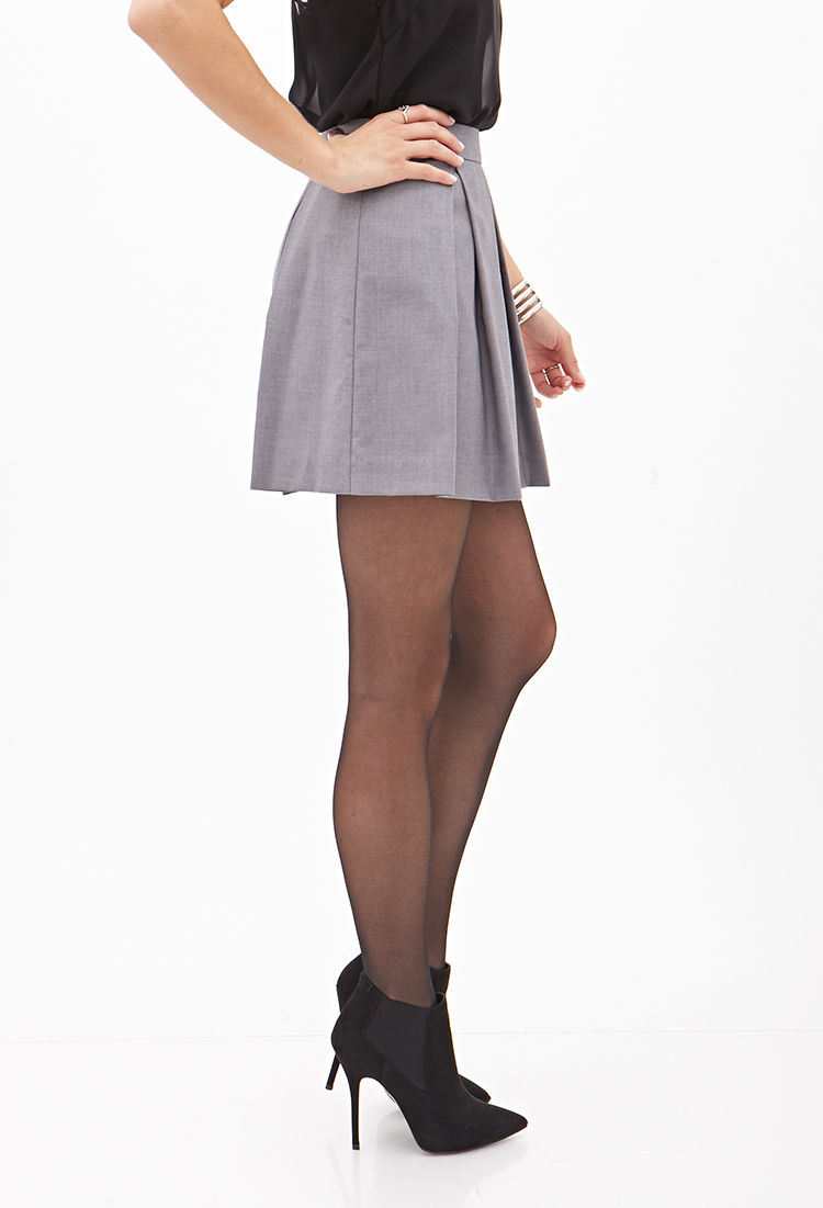 forever 21 pleated a line mini skirt in gray lyst