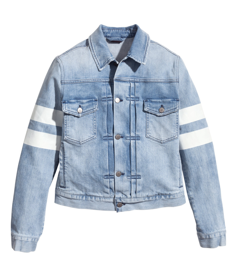 H&M Denim Jacket With A Print in Light Denim Blue (Blue