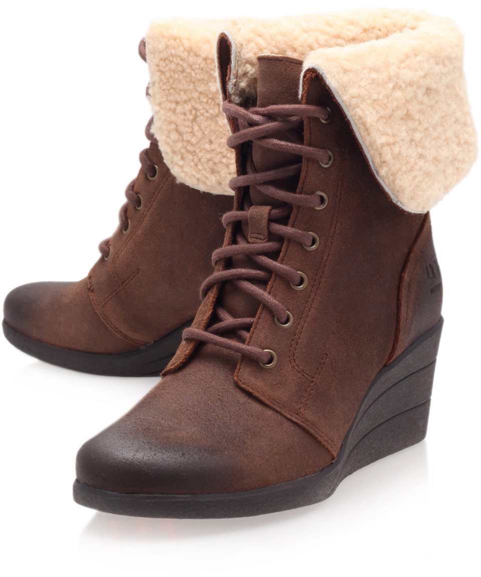 f5c528c8e095 ... cheap ugg brown leather zea shearling lace up ankle boots in brown lyst  72500 78e45