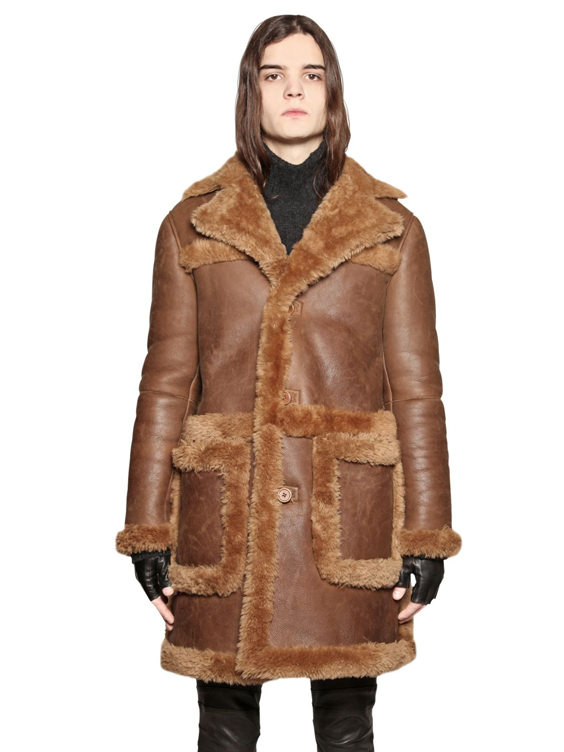 John varvatos Merino Shearling Coat in Brown | Lyst