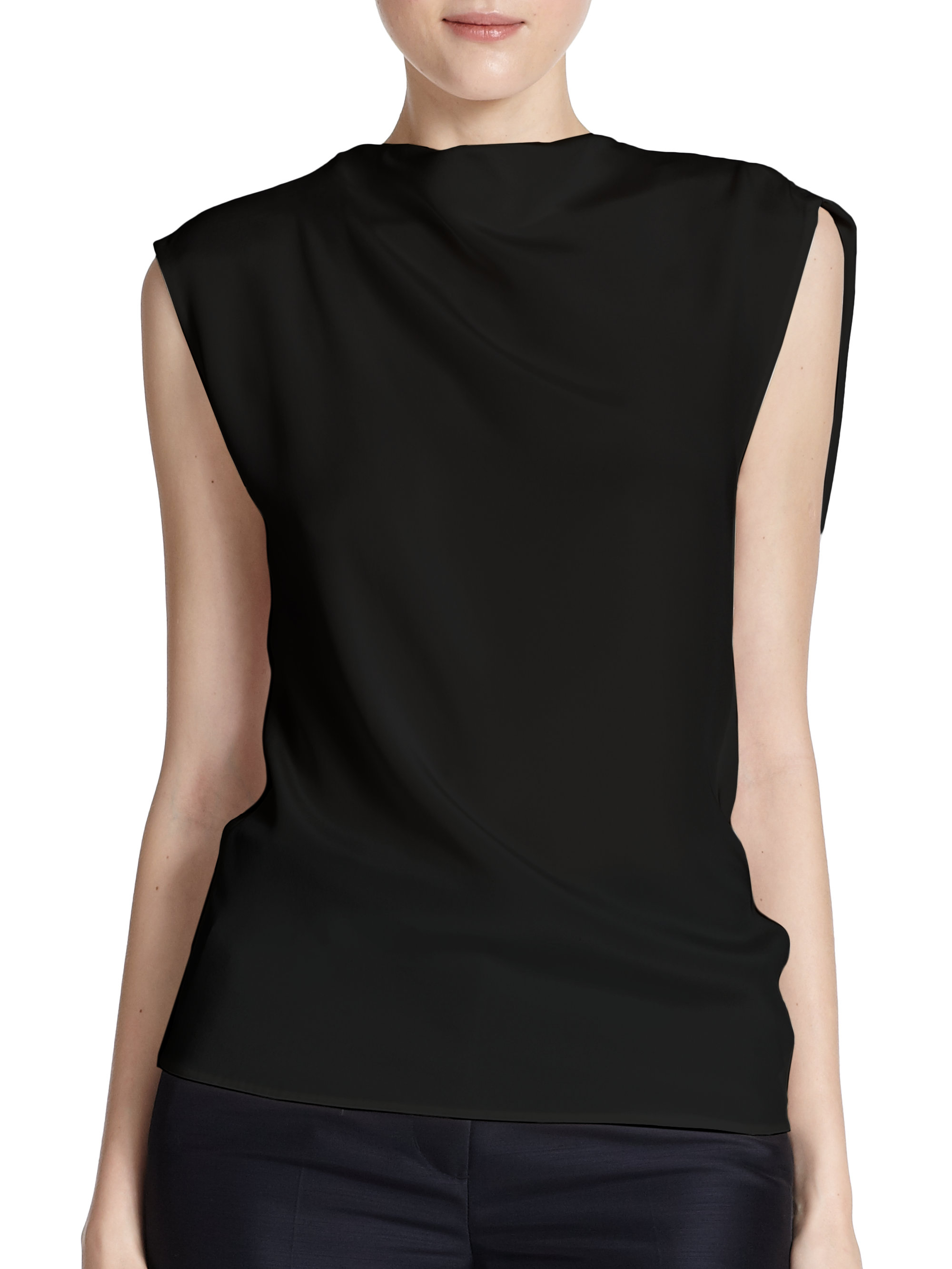 hardware c sleeveless malachite drapes calvin effortlessly p klein ljgpfrx bar detail pleated draped with tshirts top