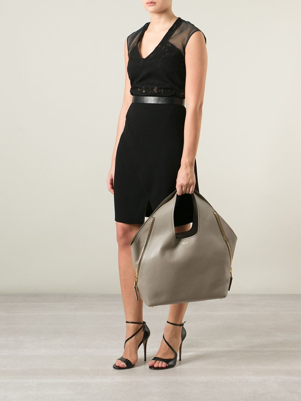 Lyst - Tom Ford Jennifer Side-zip Leather Bag in Gray 3ca5dbf15428d