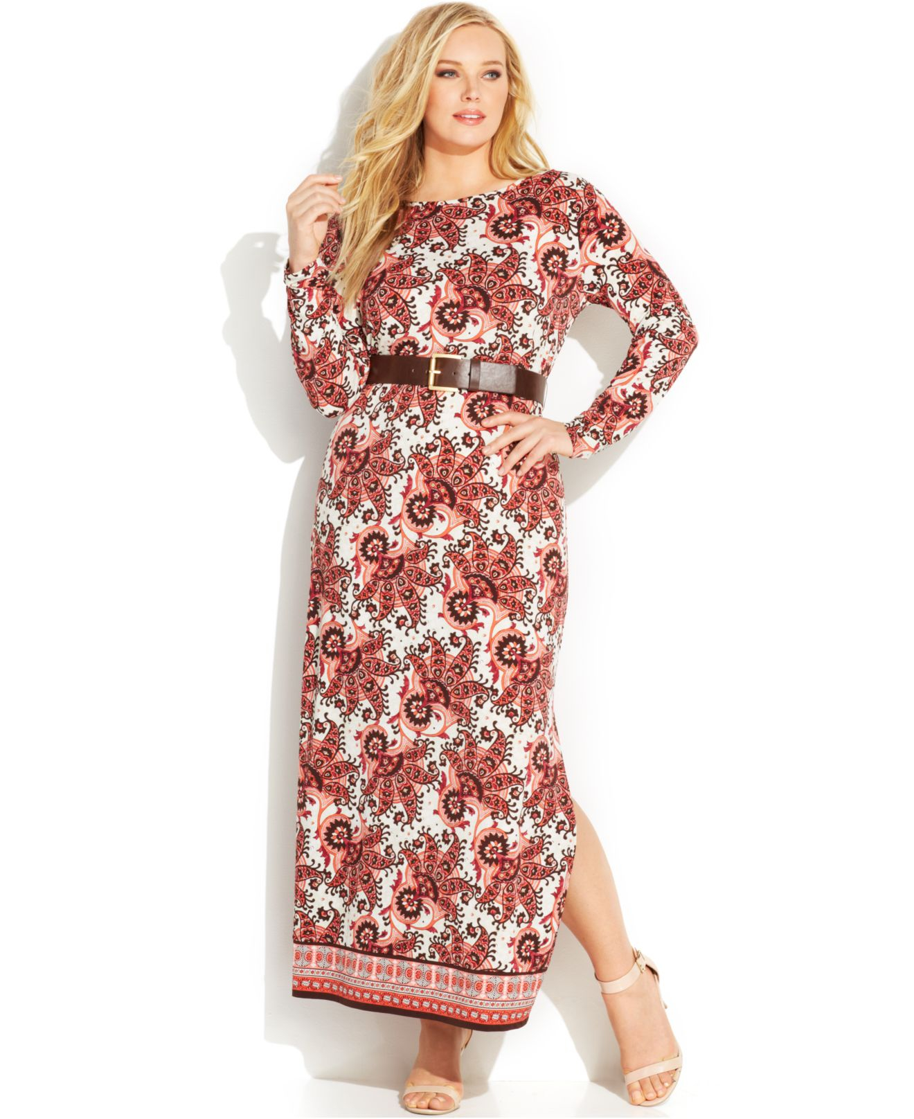 Michael kors michael plus size long sleeve paisley print maxi gallery ombrellifo Gallery