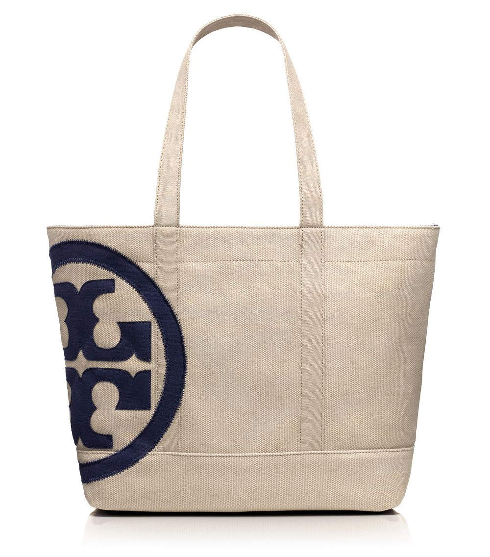 Tory burch beach small zip tote in blue lyst for Designer beach bags and totes
