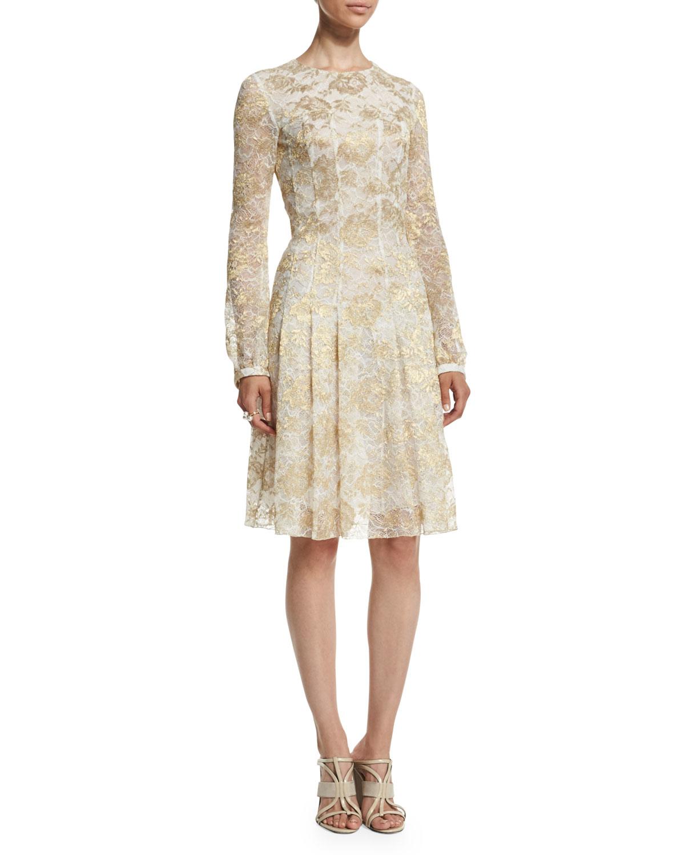 80b1ac3a91bbf Lyst - Oscar de la Renta Long-sleeve Metallic-Lace Dress in Metallic
