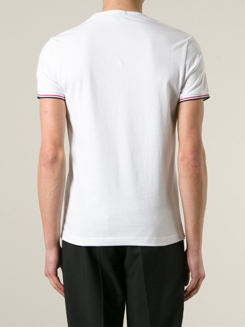 Lyst moncler crew neck t shirt in white for men for Off white moncler t shirt