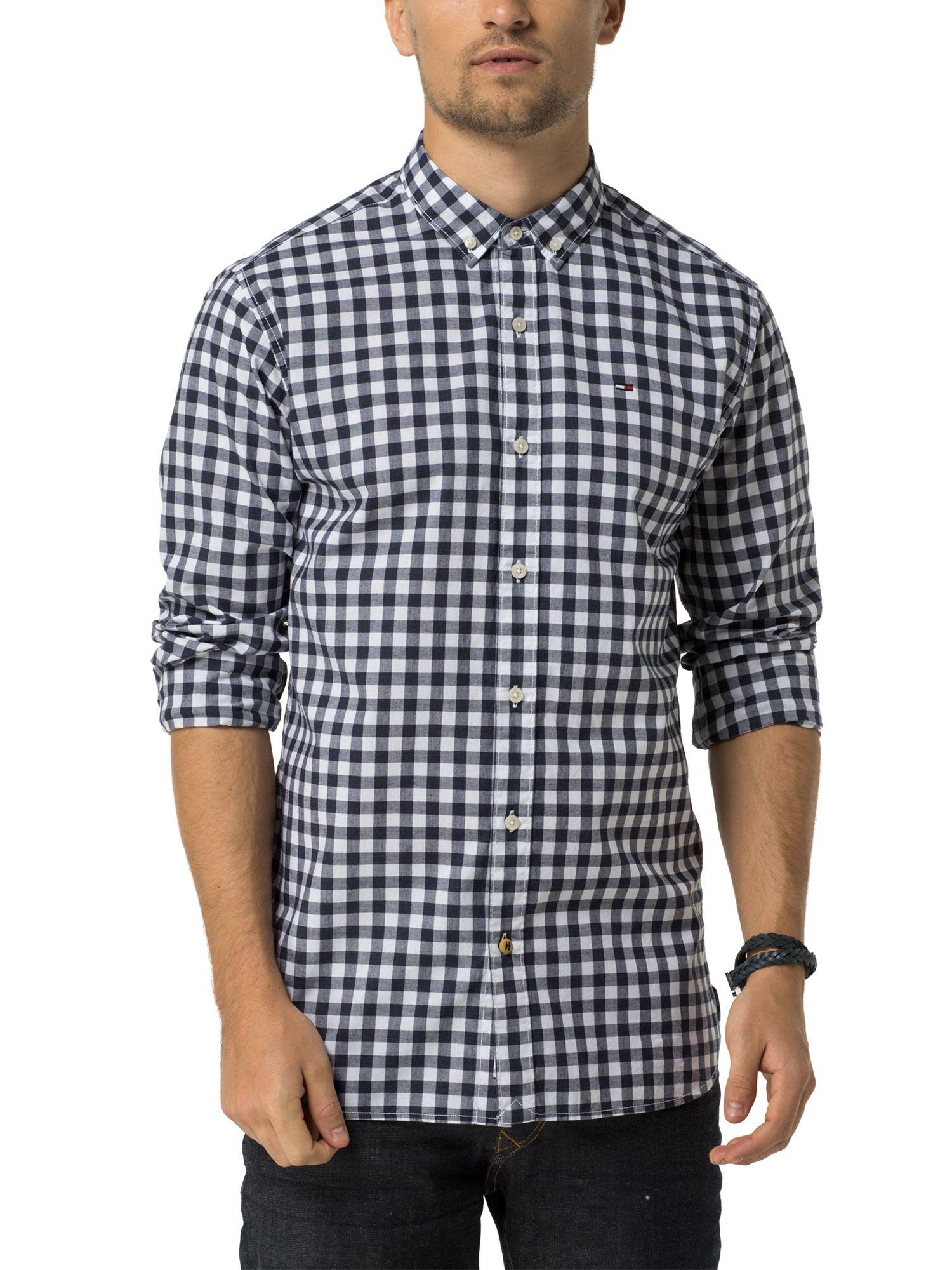 Lyst Tommy Hilfiger Basic Gingham Shirt In Blue For Men