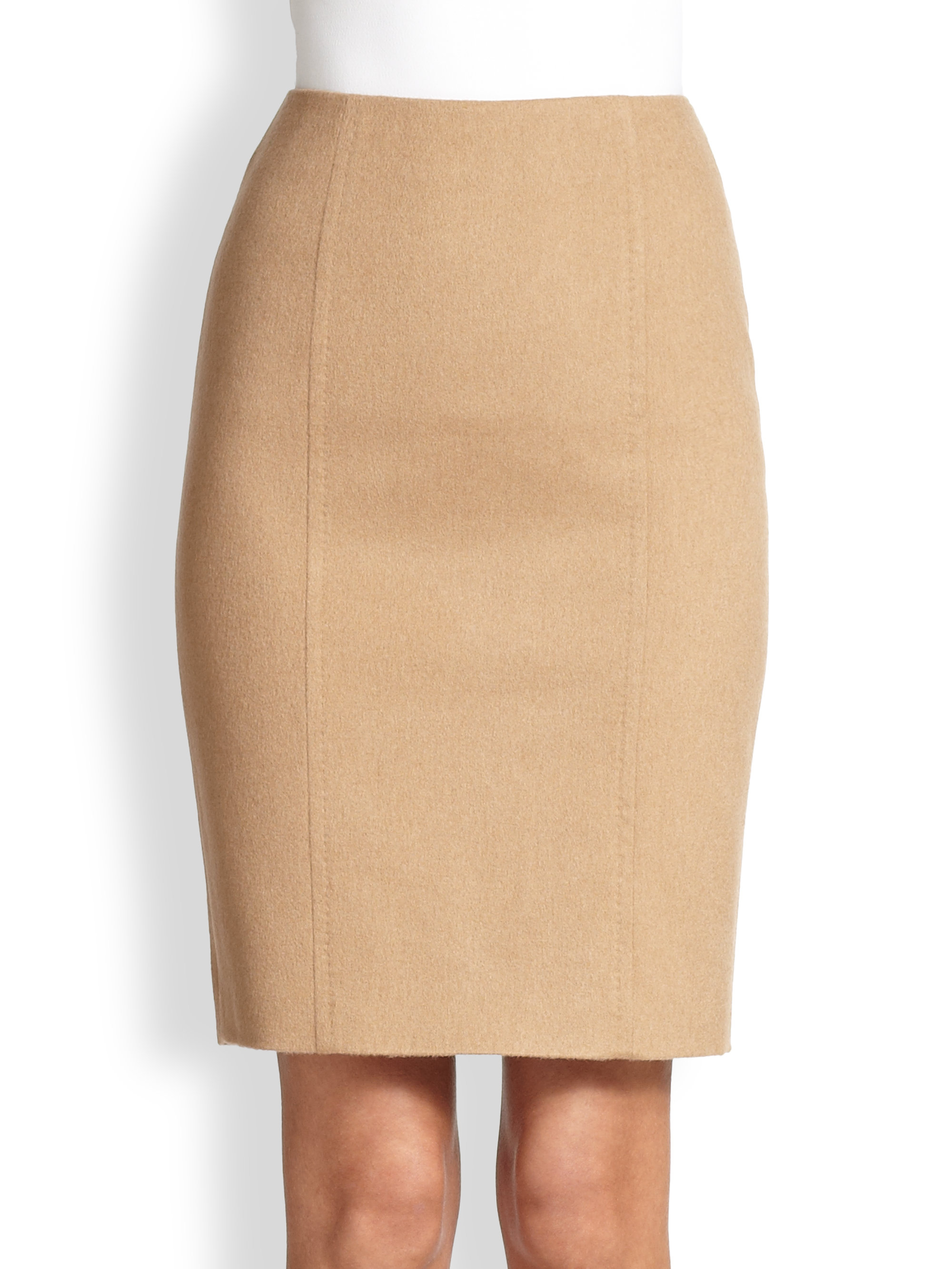 Max mara Sargano Camel Hair Pencil Skirt in Brown | Lyst