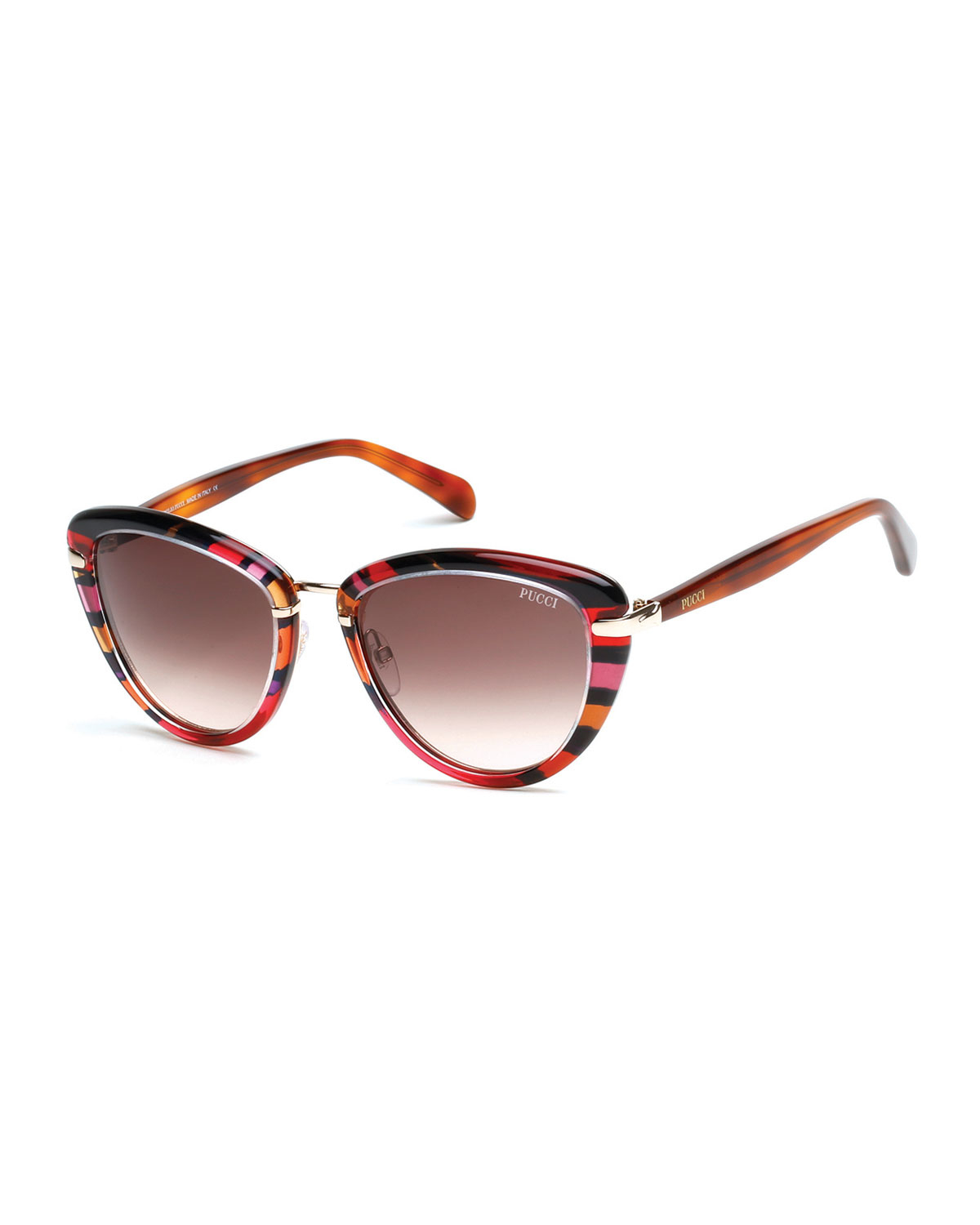 Lyst Emilio Pucci Large Printed Cat Eye Sunglasses In Red