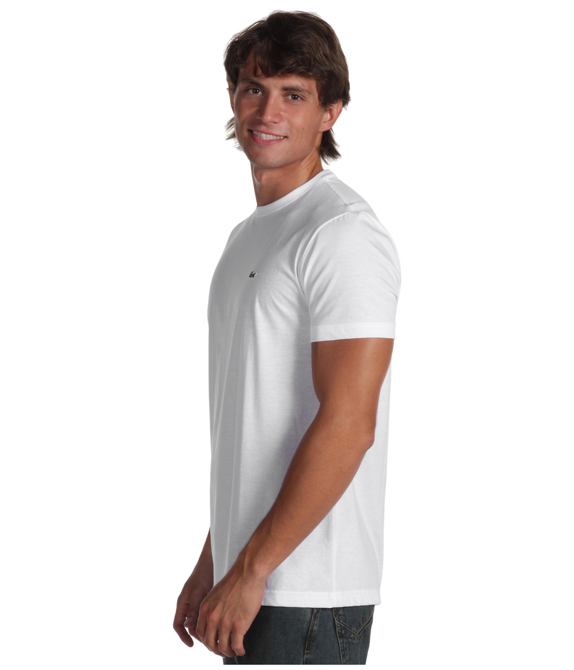 lacoste shortsleeve pima jersey crewneck tshirt in white