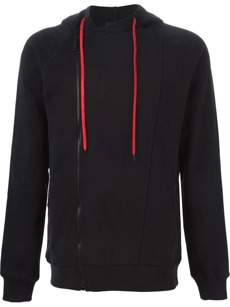lyst alexander mcqueen zip front hoodie in black for men. Black Bedroom Furniture Sets. Home Design Ideas
