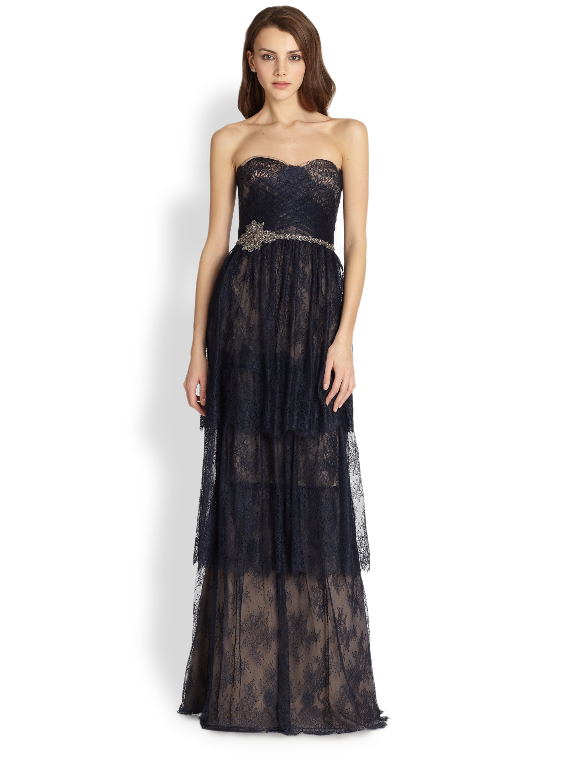 Notte by marchesa Strapless Tiered Lace Gown in Blue | Lyst