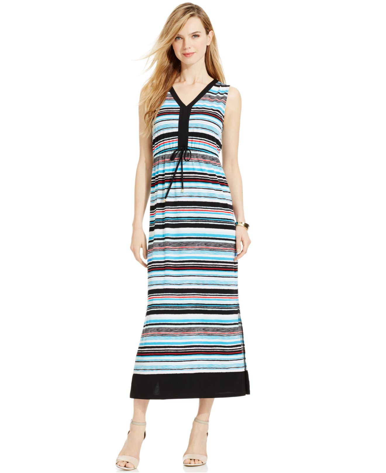 Jones new york v neck striped maxi dress in blue lyst for New york and company dress shirts