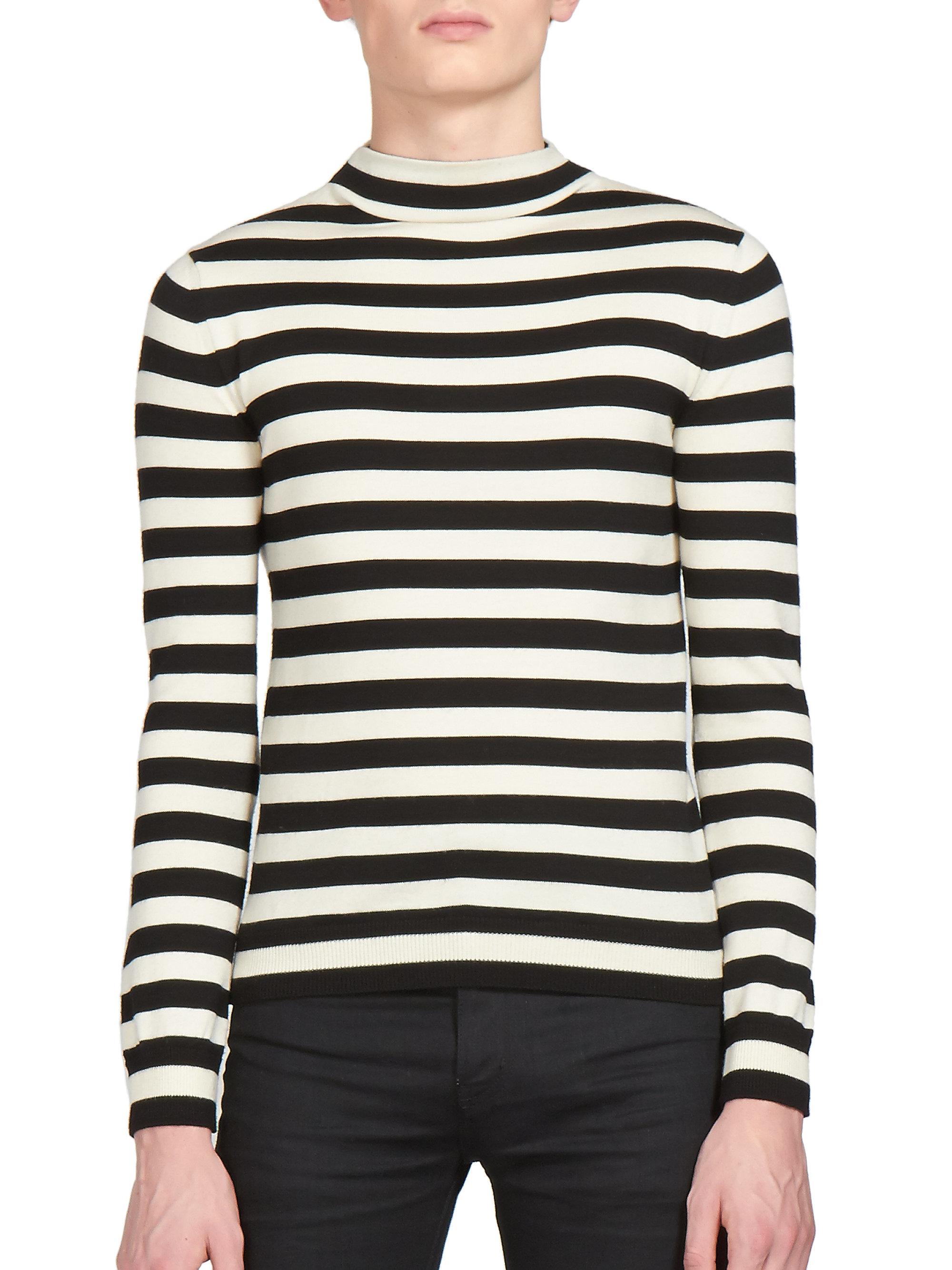 43218bfa0f32 Lyst - Saint Laurent Striped Mockneck Sweater in Black for Men