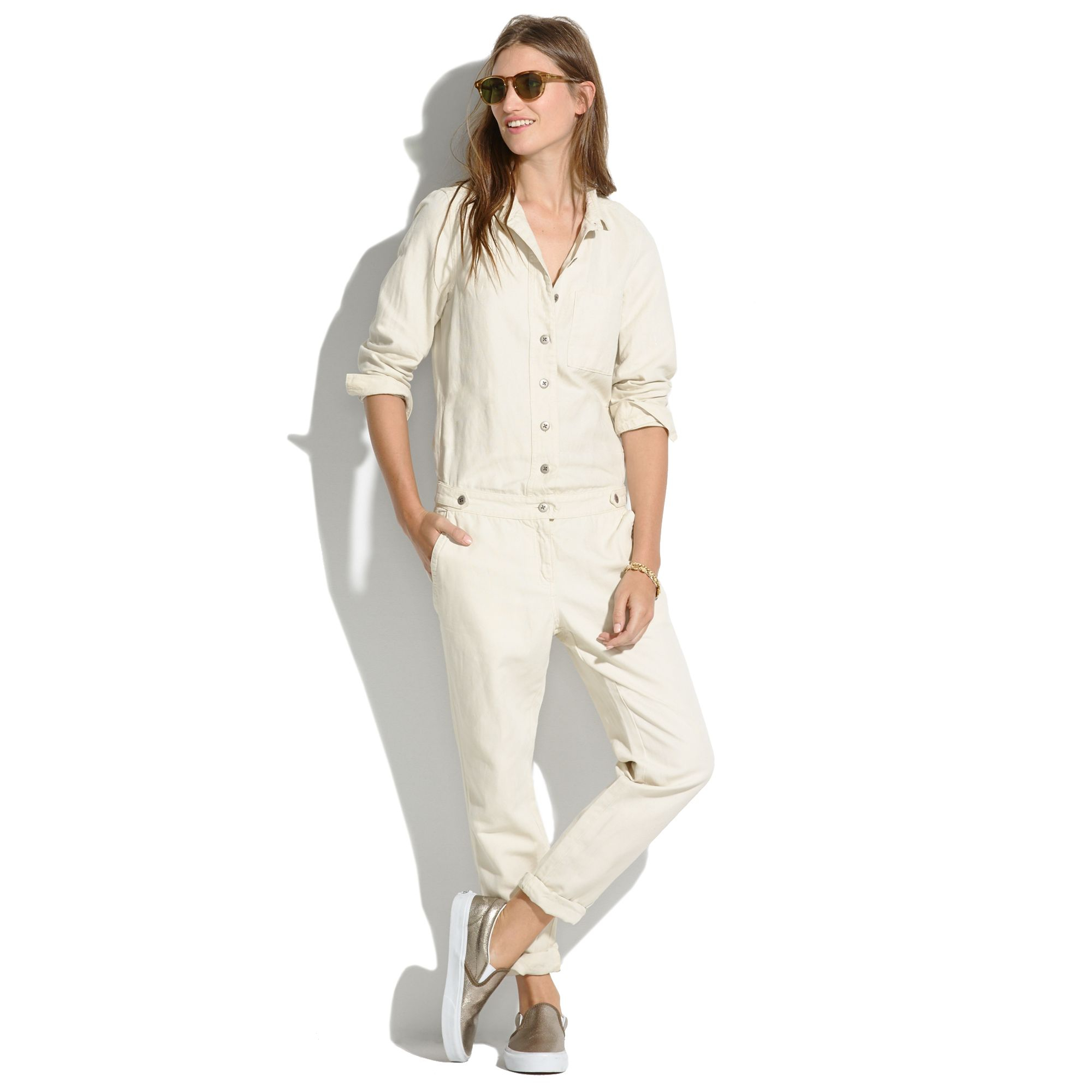 e5bf89c27b6 Lyst - Madewell Chambray Machinist Jumpsuit In Ecru in Natural