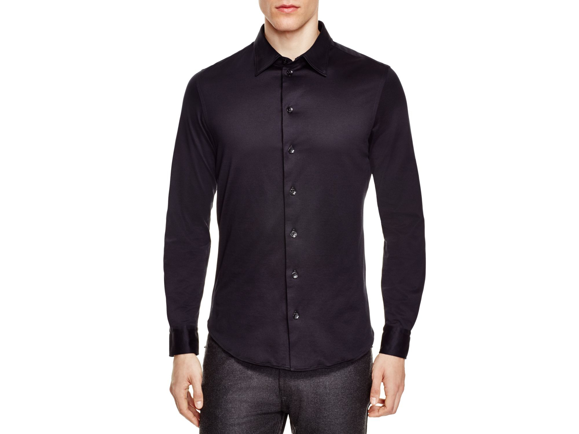 Lyst armani regular fit button down shirt in black for Womens button down shirts fitted