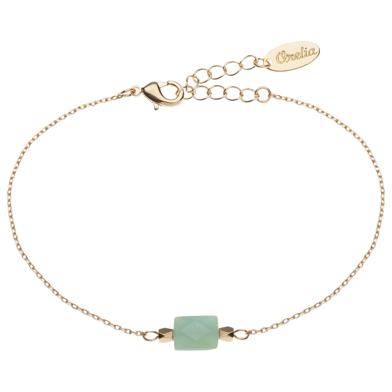 orelia semi precious bead chain bracelet in metallic lyst