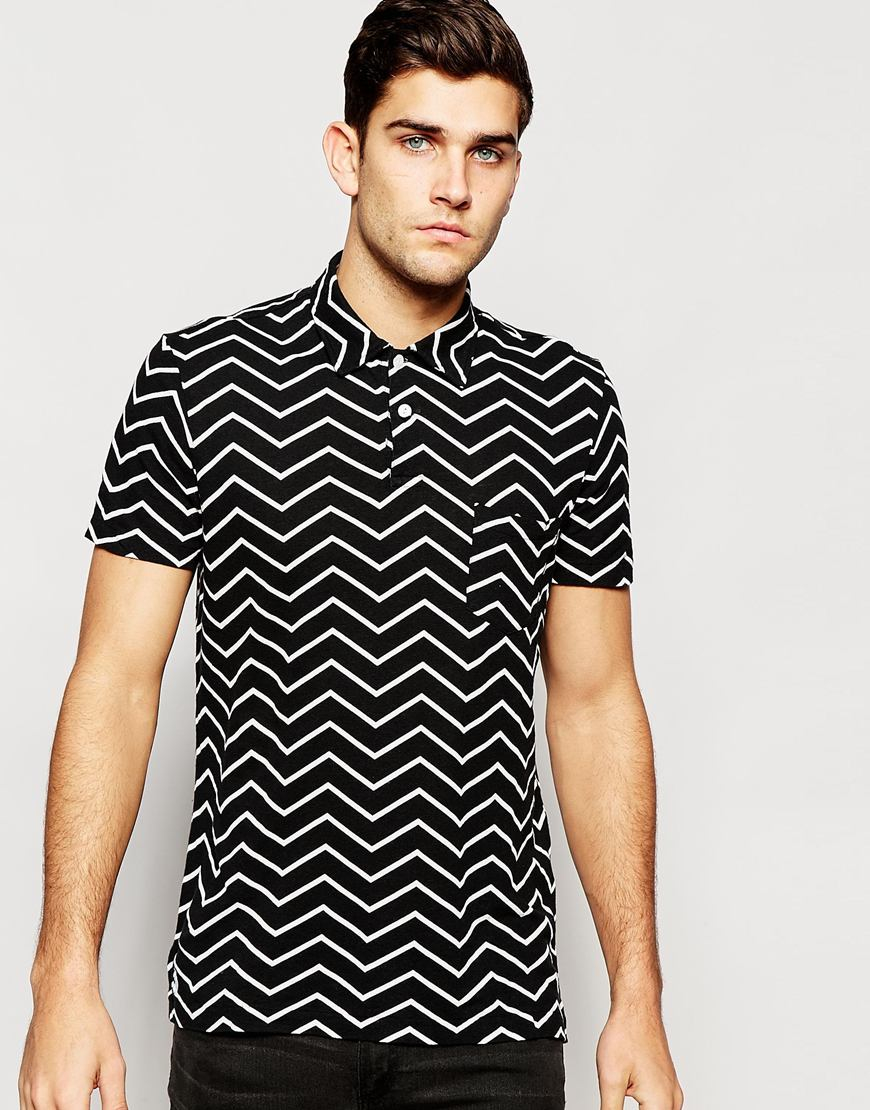 Polo ralph lauren polo shirt with zig zag print regular for Black fitted polo shirt