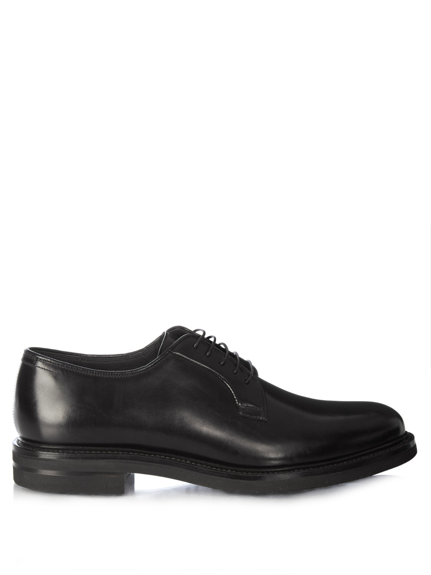 brunello cucinelli lace up leather derby shoes in black