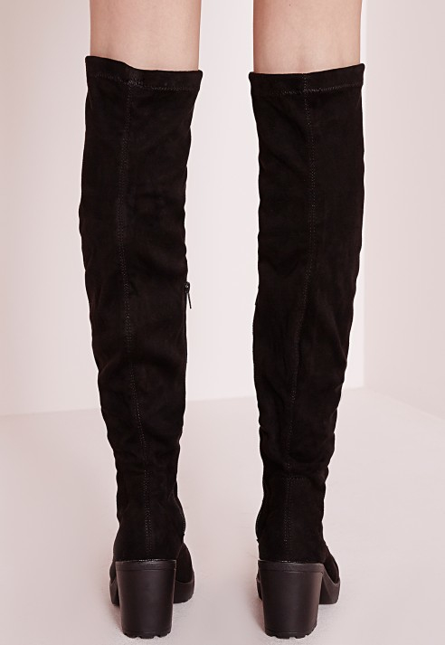 Missguided Cleated Low Heel Over The Knee Boots Black in Brown