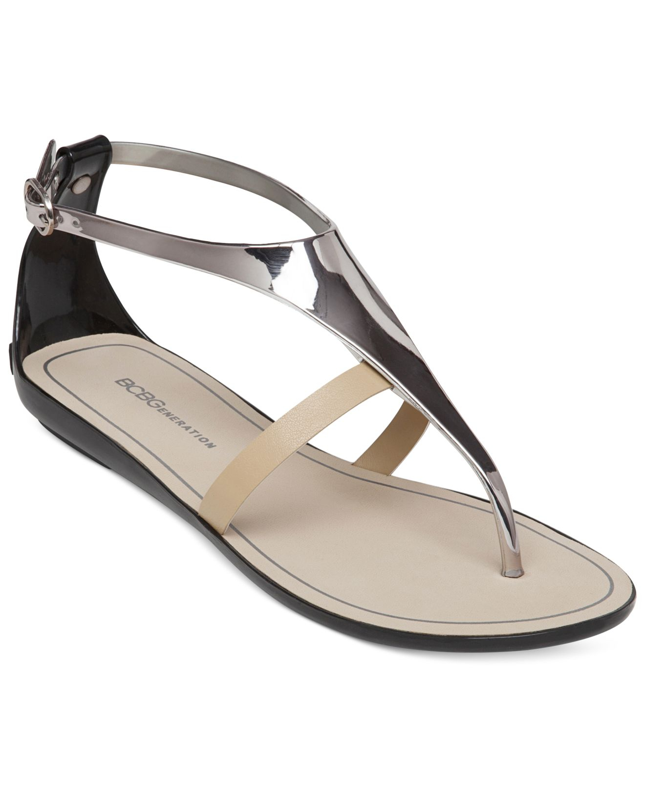 Lyst Bcbgeneration Caper Flat Thong Sandals In Metallic